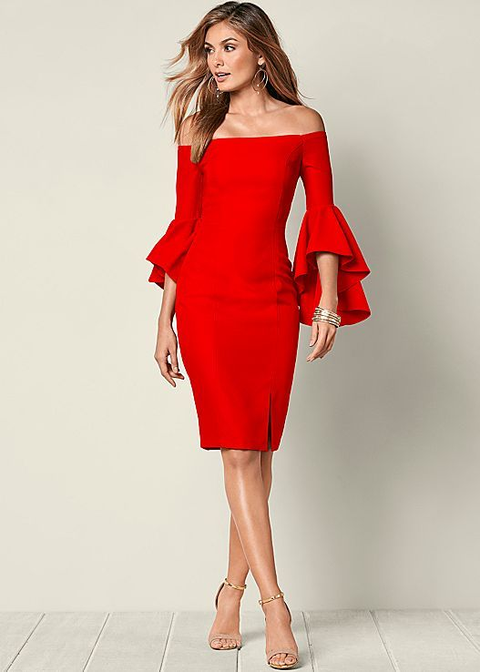 This year's Valentine's Day dress. Venus sleeve detail dress with Venus hardware detail sandal.