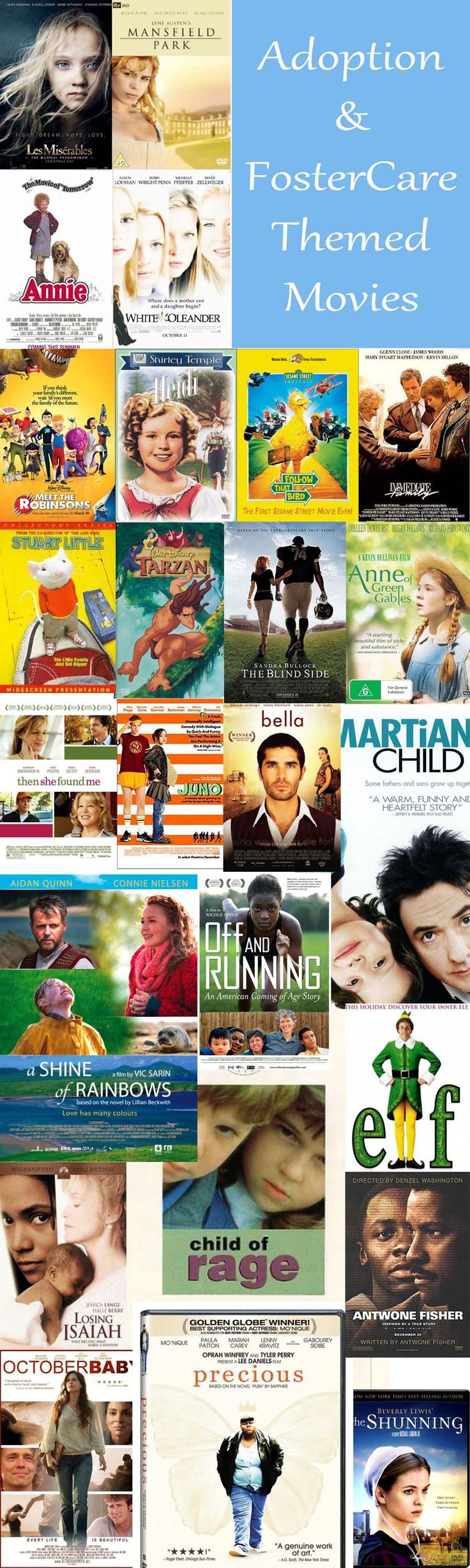 Adoption and Foster Care Themed Movies - a growing list.  ADD yours on the site.  #foster care movie