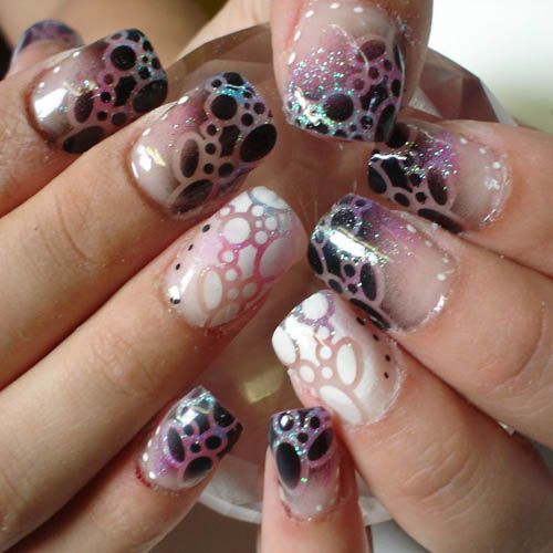 Duo toned airbrush nails | See more at http://www.nailsss.com/...  | See more nail designs at http://www.nailsss.com/acrylic-nails-ideas/3/