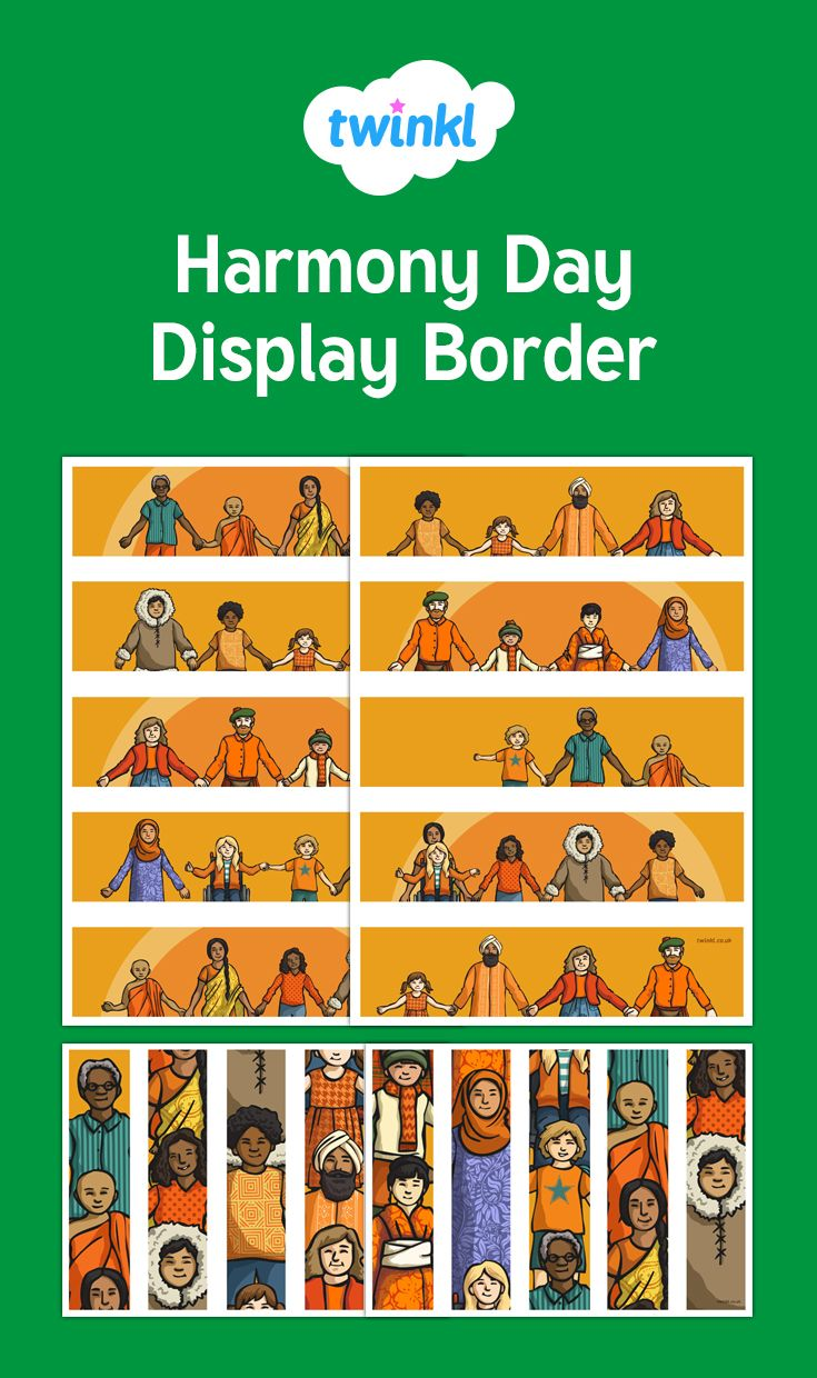 Frame your 'Harmony Day' display with these printable display borders. The resource includes horizontal strips for the top and bottom of your display board as well as vertical ones for the sides, so all you need to do it cut them out and piece them together.