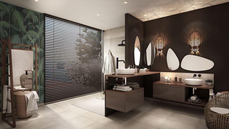 Le carrelage avec cette nouvelle interprétation du carreau ciment légèrement usé rappelle les motifs de l'art mauresque. La robinetterie noir mat de cette salle de bain nous sort des traditionnelles robinetteries chromées.