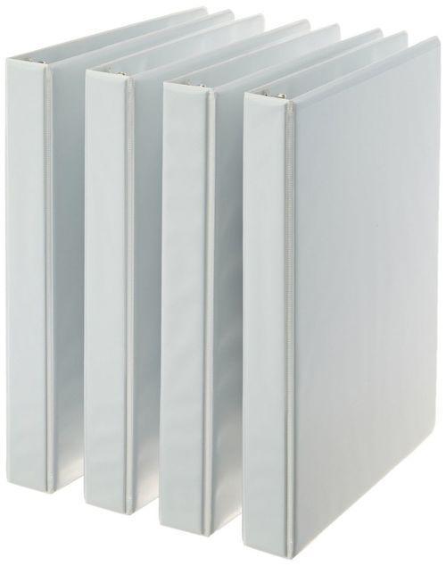 AmazonBasics 3-Ring Binder 1 Inch - 4-Pack (White) White 1-Inch
