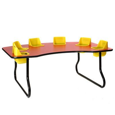 Toddler Tables Kid's Toddler Table Size: Standard, Seat Color: Red, Table Top Color: Gray Spectrum Nebula