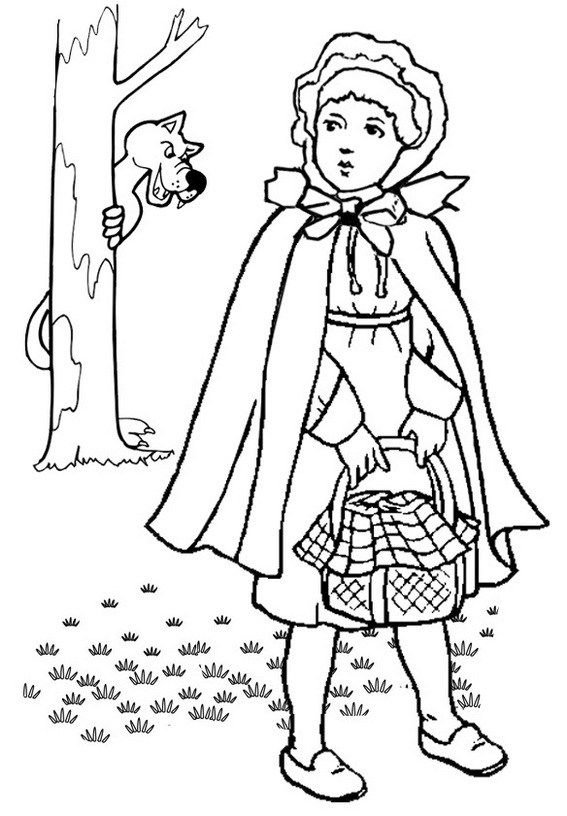 Little Red Riding Hood Being Watched By The Big Bad Wolf Coloring