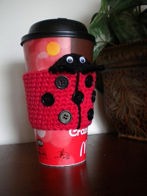 Ravelry: Sadie the Ladybug Coffee Cozy pattern by Janet Jameson