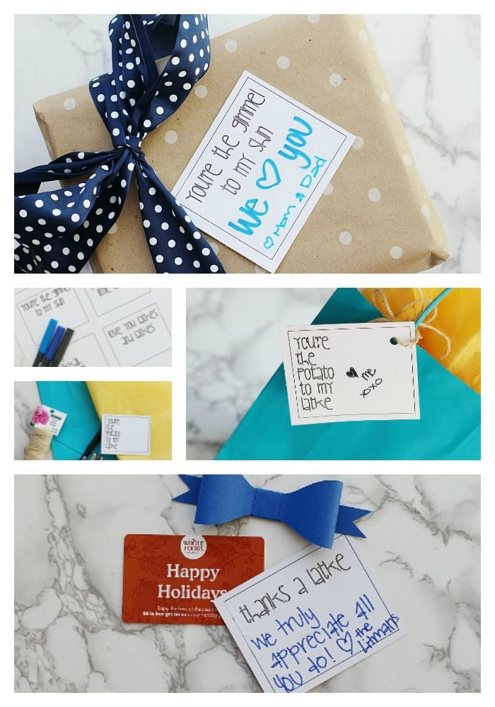 Grab yourself a copy of these FREE Hanukkah gift tag printables! You can turn them into gift tags, cards, or stickers! #gifttags #hanukkah #gifts