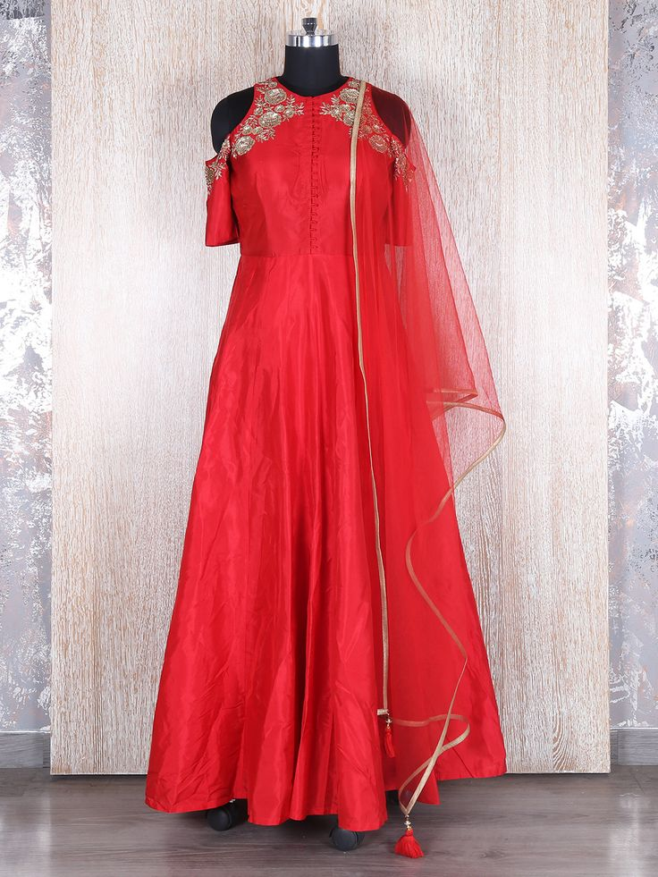 Red Silk Anarkali Suit