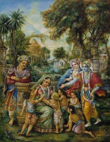 The return of the 6 sons of Devaki. Painting by Pushkar das.