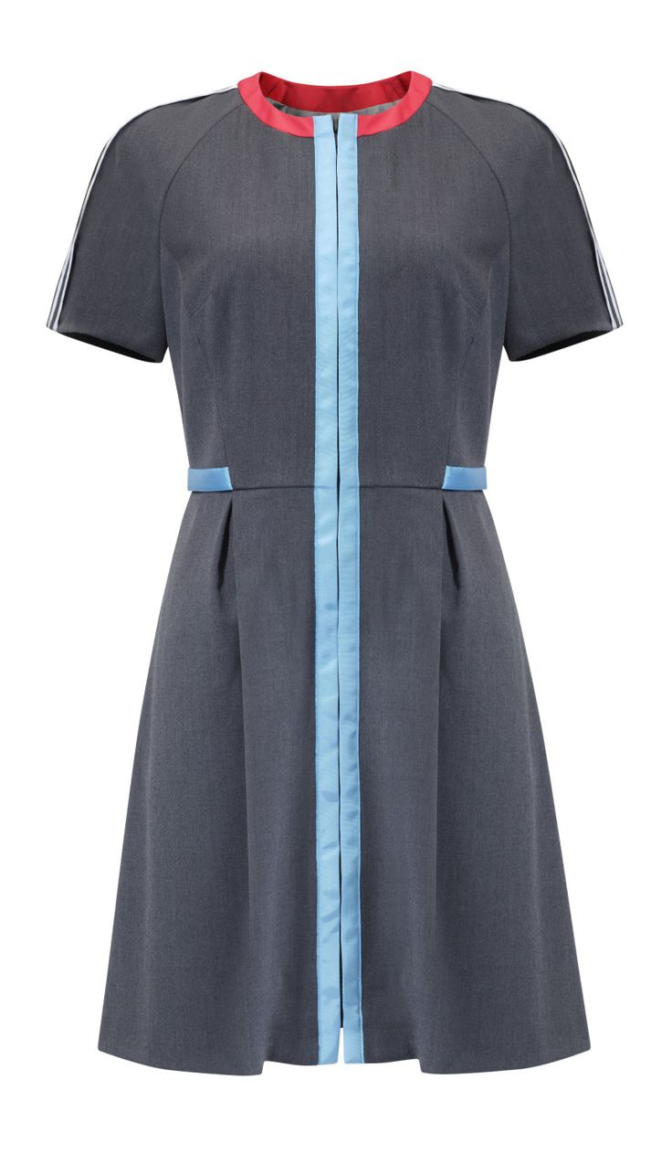 Kosmal, Lucky Me, resort 2016, zipper dress (grey, light blue, red). To download high or low resolution product images view Mondrianista.com (editorial use only).
