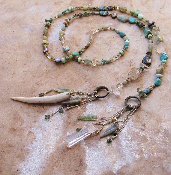 Water Colors Gemstone Spirit Beads Lariat Necklace - by deserttalismans