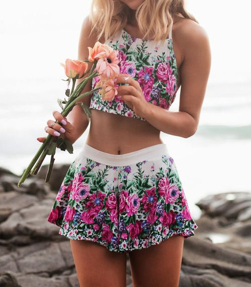 Shop this look for $16:  http://lookastic.com/women/looks/white-and-pink-floral-cropped-top-and-white-and-pink-floral-mini-skirt/2758  — White and Pink Floral Cropped Top  — White and Pink Floral Mini Skirt