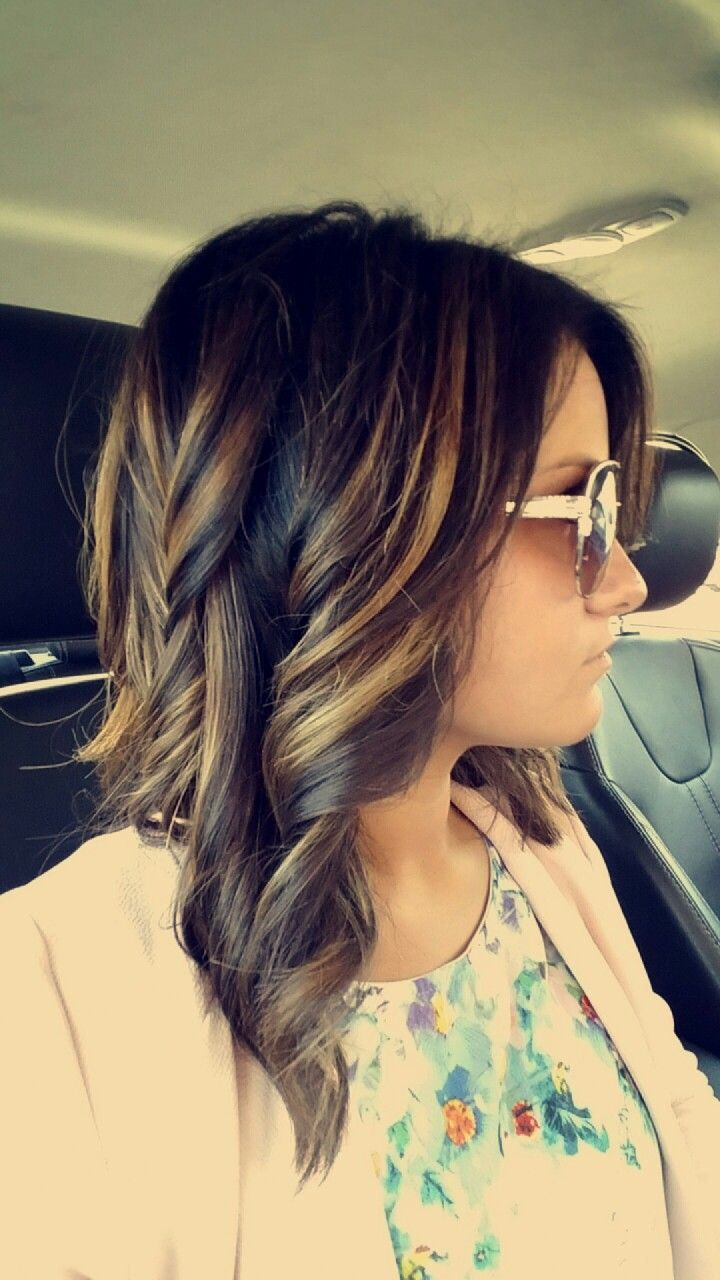 Dark Brown On Top With Balayage Carmel Highlights Short