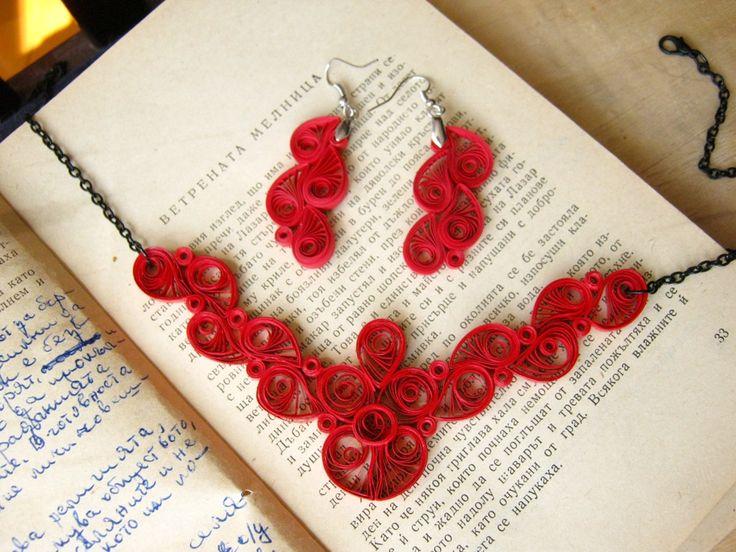 Primer regalo de aniversario conjunto de joyas de papel rojo
