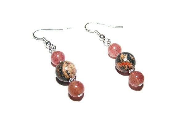 Fancy Jasper and Strawberry Quartz Earrings £5.99