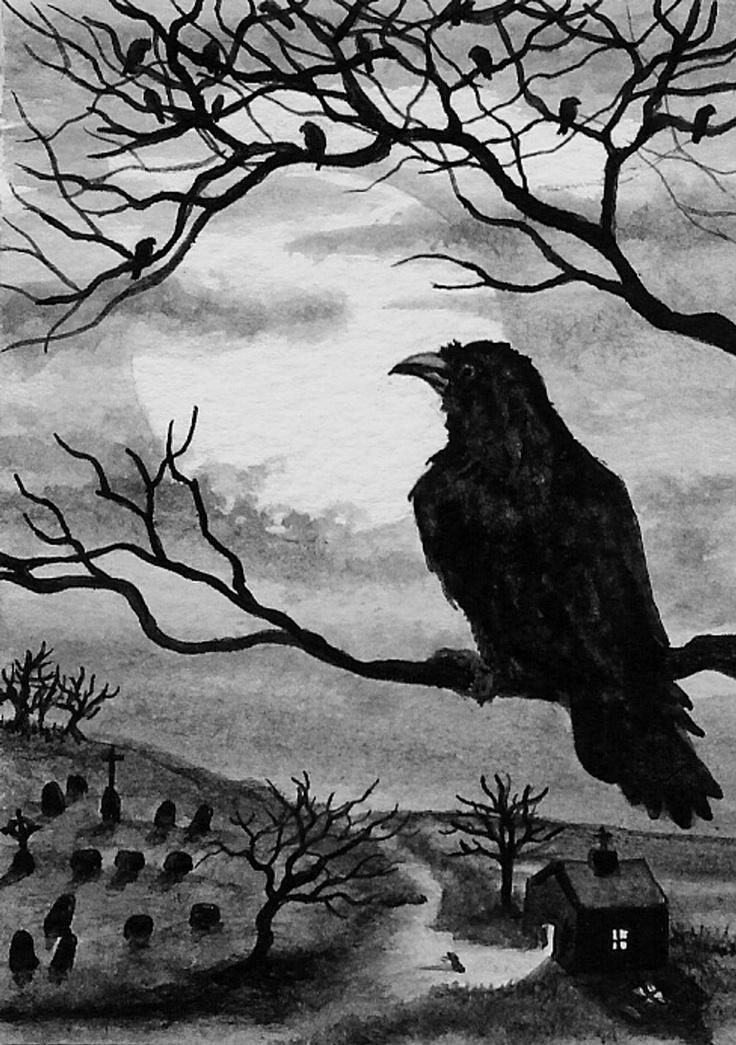 Картинки с воронами нарисованные, поночка дилли любовь
