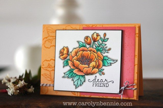 Stampin' Up! Birthday Blooms with  Incolors Peekaboo Peach, Flirty Flamingo and Emerald Envy.  See the hot tips for achieving this colouring on my Australian blog carolynbennnie.com :)