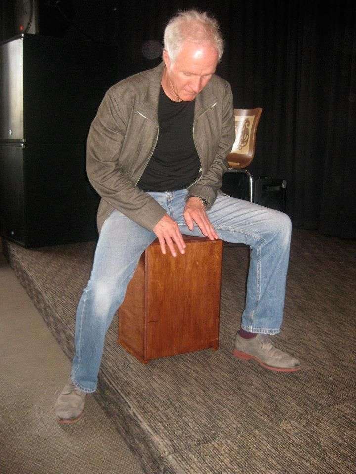 """Auckland musician Mark Laurent on one of the first Barebones """"Flat out"""" Cajons. Thirsty Dog tavern 2014"""
