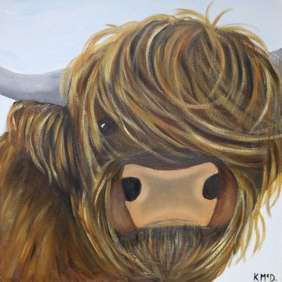 Oil on box canvas 'Jamie' Highland Cow painting  by kjOILSandCLAY