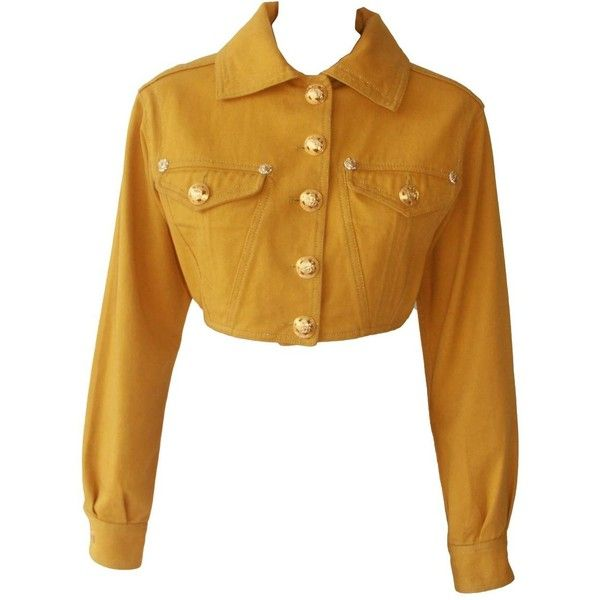 Pre-owned Gianni Versace Gold Cropped Denim Jacket Fall 1992 ($600) ❤ liked on Polyvore featuring outerwear, jackets, button jacket, denim jacket, versace jacket, jean jacket and versace