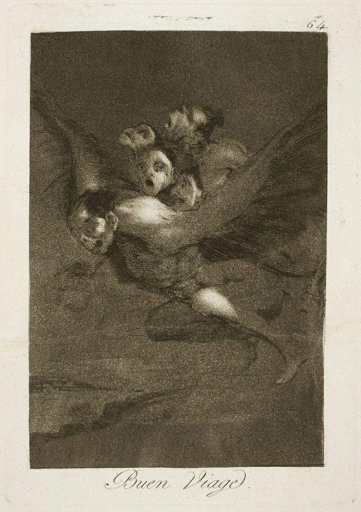 """Francisco de Goya: """"Buen Viage"""". Serie """"Los caprichos"""" [64]. Etching, aquatint and burin on paper, 215 x 151 mm, 1797-99. Museo Nacional del Prado, Madrid, Spain"""