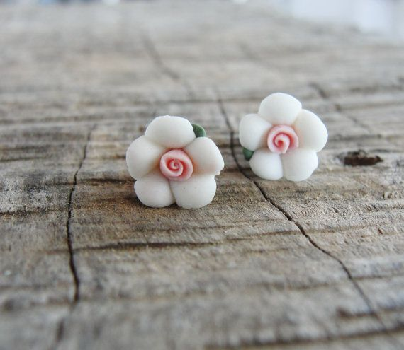 White Porcelain Earrings Floral Stud post Earrings by StarDelights