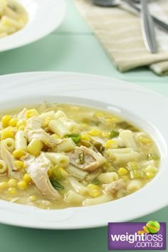 Healthy Soup Recipes: Chicken & Corn Soup. #HealthyRecipes #DietRecipes #WeightLoss #WeightlossRecipes weightloss.com.au