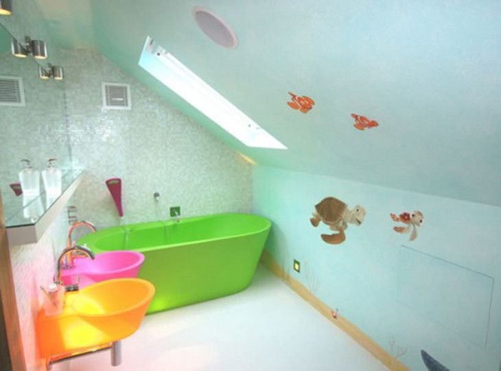 small-attic-bathroom-idea-for-kid-design-with-charming-green-bathtub-interesting-vivid-color-of-wash-basin-fabulous-blue-wall