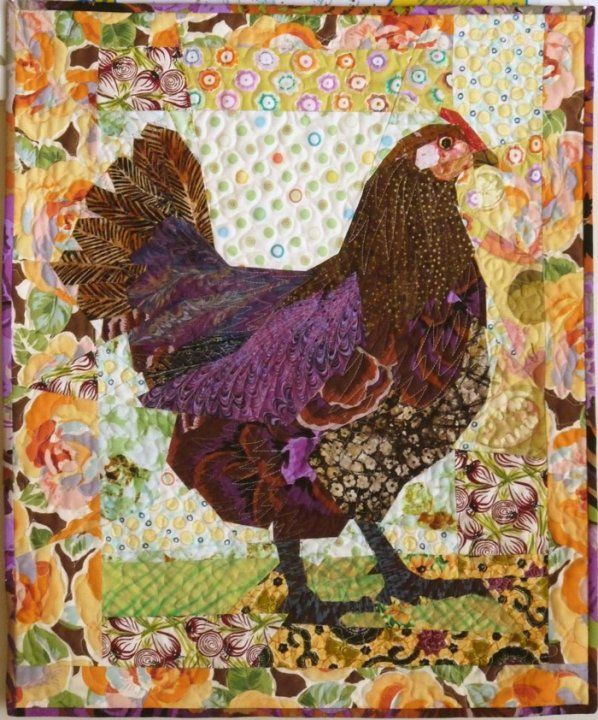 New quilt just added to www.ruthbmcdowell.com! Hen with Yellow Roses