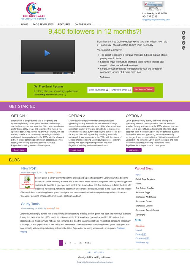 Created a custom wordpress theme for a client with a custom - release plan template