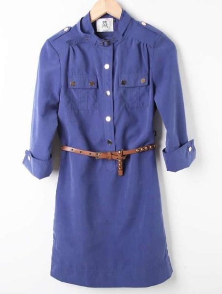Blue Drawstring Waist Dress