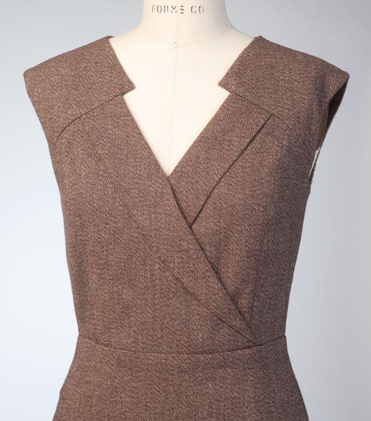 V1420 Anne Klein dress for Vogue Patterns. Bodice detail. #voguepatterns