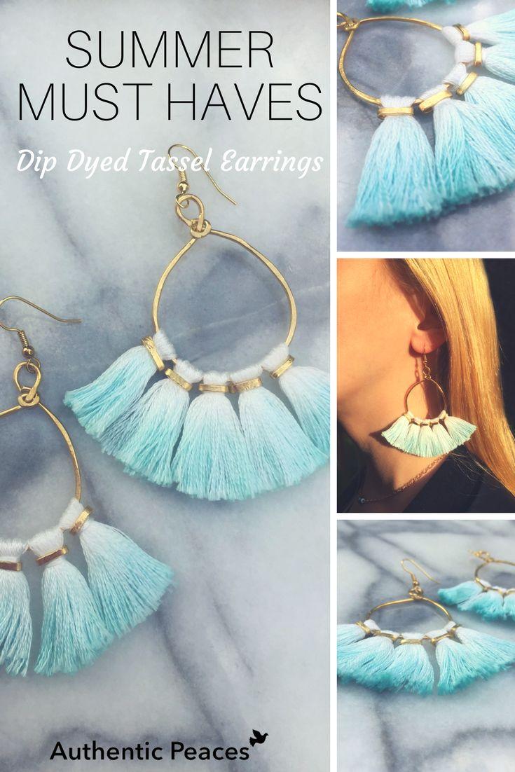 Dip dyed tassel earrings are summer 2017 must haves!