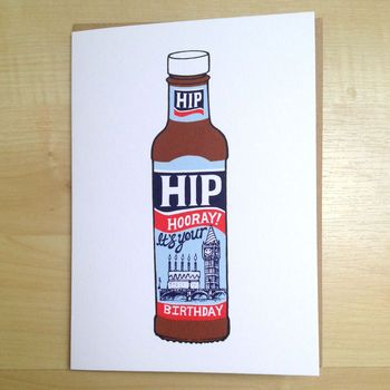 'Hip Hip Hooray! It's Your Birthday' Card by CARDINKY. Prindet in UK. ECO-FRIENDLY. Dimensions: 170mm x 120mm.