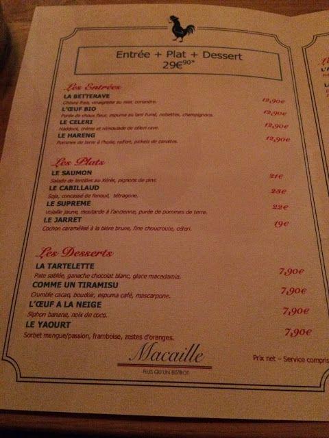 December 2015 menu at Macaille, Suresnes, France