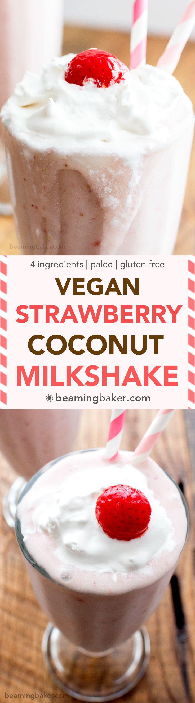 Vegan Strawberry Coconut Milkshake (V+GF): a 4 ingredient recipe for creamy and thick strawberry coconut milkshakes.