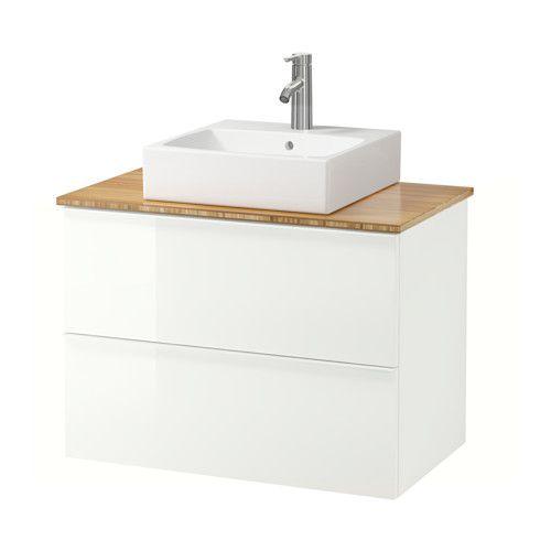 IKEA - GODMORGON/ALDERN / TÖRNVIKEN, Wastafelcombi 45x45 v bovenblad, bamboe, hoogglans wit, 82x49x72 cm, , Gratis 10 jaar garantie. Raadpleeg onze folder voor de garantievoorwaarden.Je kan de wastafel plaatsen waar je wilt: in het midden, rechts of links.Door de speciaal vormgegeven sifon is er plaats voor ruime lades.Lades van massief hout met een bodem van krasbestendig melamine.Soepel lopende en zachtsluitende lades met blokkeerstuk.Je kan de grootte van het vak in de lade makkelijk…