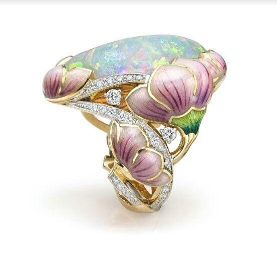 @twentyonejewels An opal, enamel and diamond ring, by Agafonov Workshop. @masterskaya_agafonova