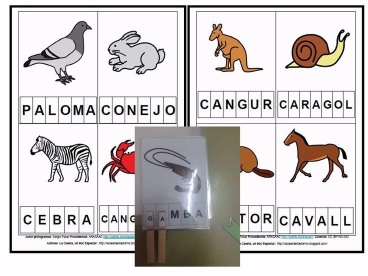 MATERIALES - Lectoescritura con pinzas.  Se trata de un juego para trabajar la lectoescritura utilizando tarjetas de animales con sus nombres escritos con mayúsculas.   http://www.catedu.es/arasaac/materiales.php?