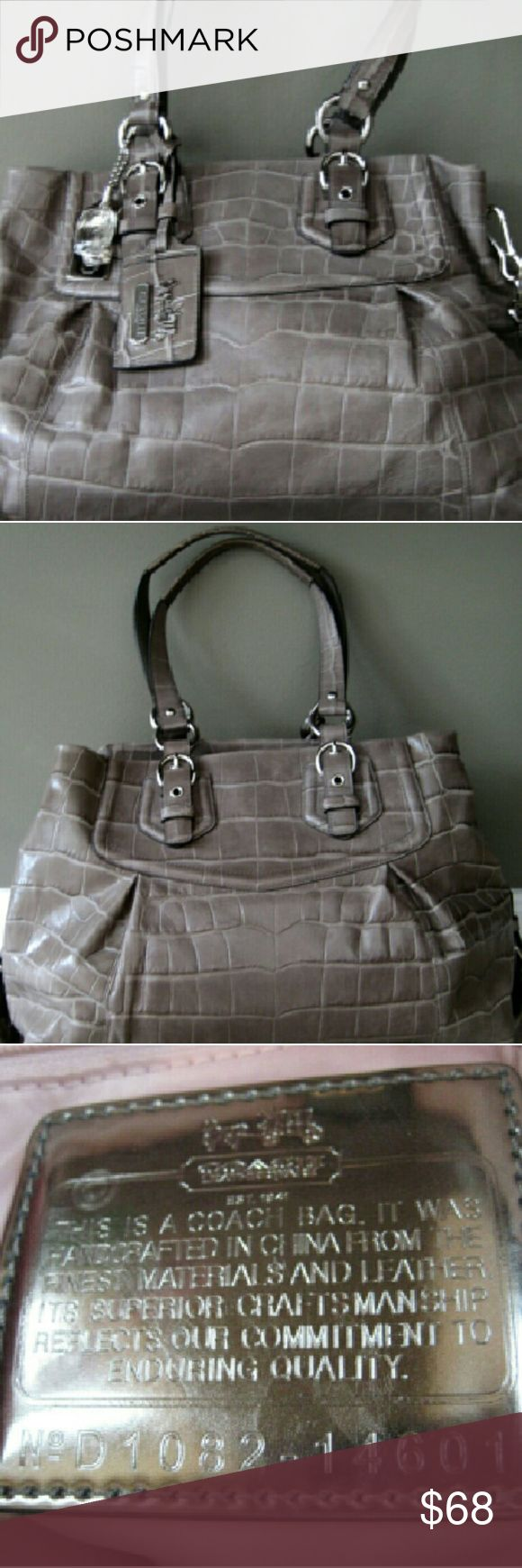 Coach Genuine Leather Large Carryall Bag Big Purse I ONLY WORE THIS BAG TWICE, ITS SUPER CLEAN AND FLAWLESS, AND COMES WITH ALL THE BELLS AND WHISTLES, EXCEPT THE REMOVABLE/OPTIONAL LONG SHOULDER STRAP IS MISSING! I THINK I ACCIDENTLY DONATED IT!  Like New Authentic Coach Limited Edition Madison Lucky Gem Bag Embossed Leather Carryall  Gorgeous Grey Croc-EMBOSSED Leather, with  perfect shiny silver hardware!  Model #14601 Magnetic Snap Closures Security Zipper compartment in the middle. 100%…