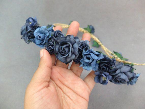 Corpse Bride. Midnight blue flower headpiece navy blue rose crown by musefleur