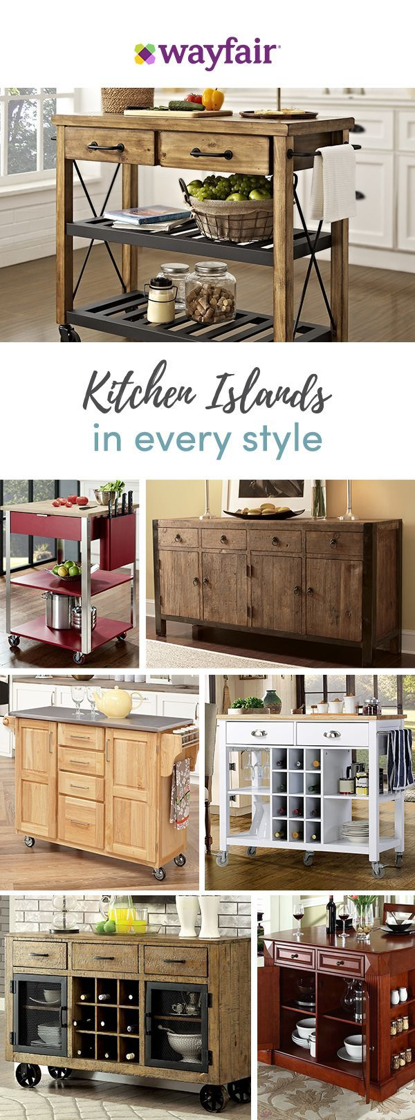 We know that when it comes to the kitchen, space is a key factor. Treat yourself to style, storage and convenience with our multi-purpose kitchen carts. Whether you need extra prep space or storage for appliances, you'll find your perfect cart with our endless options. Get access to exclusive deals at up to 70% OFF and enjoy FREE SHIPPING on all orders over $49 at Wayfair! Sign up and shop now!