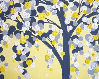 Yellow Gray and Aqua Blue Wall Art Textured di MurrayDesignShop