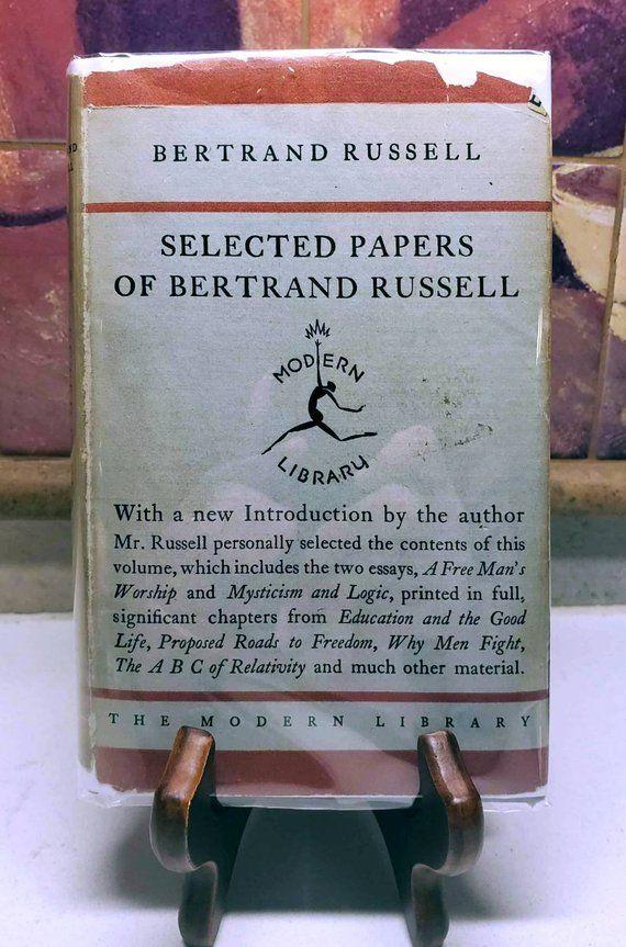 Bertrand Russell Selected Papers Of Bertrand Russell Rare Etsy Bertrand Russell Paper Book Accessories