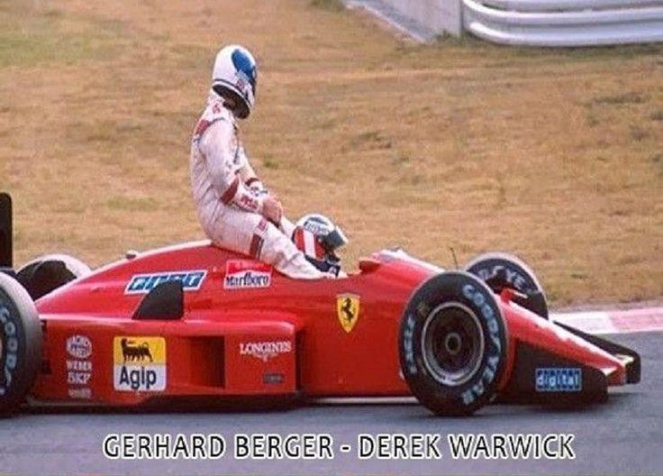 Gerhard Berger giving Derek Warwick a lift.