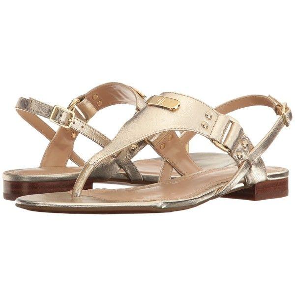LAUREN Ralph Lauren Valinda (Platino) Women's Sandals ($69) ❤ liked on Polyvore featuring shoes, sandals, small heel sandals, low heel slingback shoes, lauren ralph lauren sandals, low heel thong sandals and open toe slingback