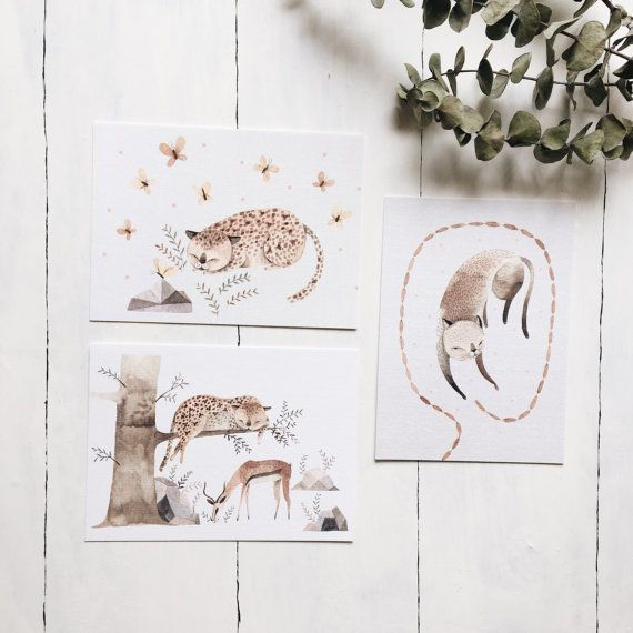 #leopard #cat #kitty #animals #postcard #illustration #art #watercolor #cute #nature