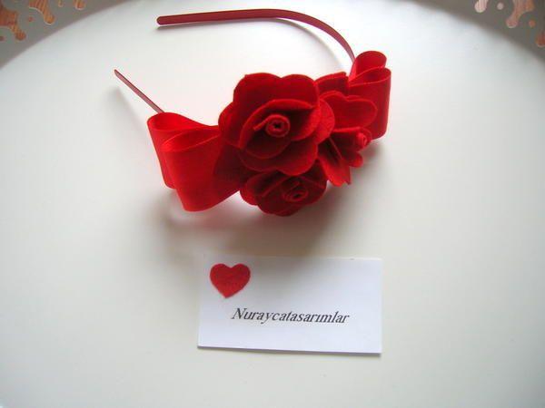 Keçe+Çiçekli+Lohusa+Tacı+