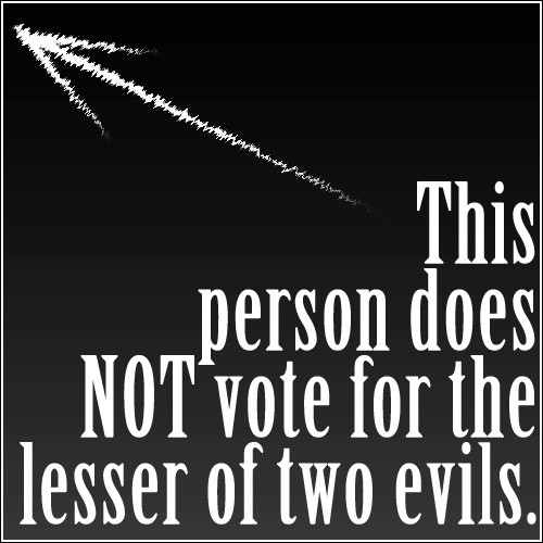"Voting Libertarian is NOT ""giving a vote to the opponents""!of YOUR party.  IT IS SHOWING MY DISPLEASURE in both main party choices.  Every vote DOES count for something!"