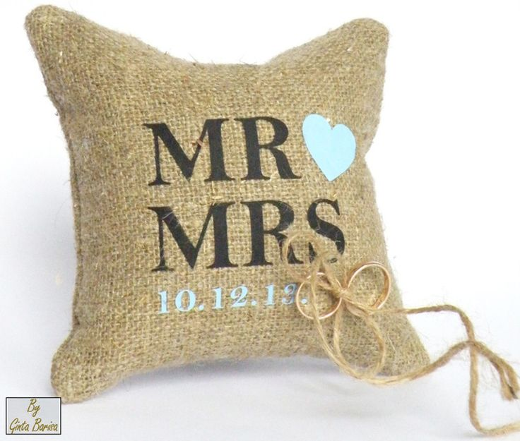 Handmade Burlap Linen Ring Bearer Pillow #personalized #weddings #rust...