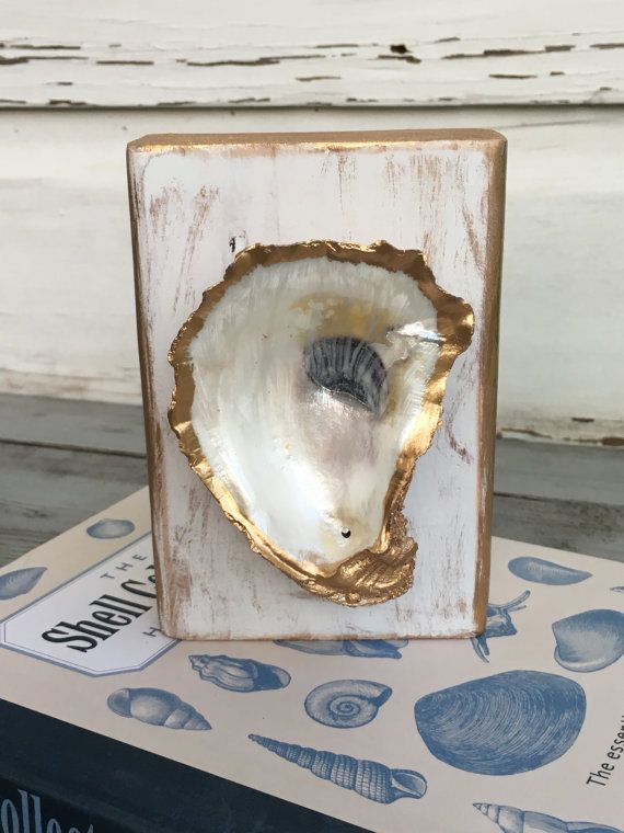 Oyster Shell Art/Coastal Oyster Decor/Gold Leaf Oyster Shell Gift
